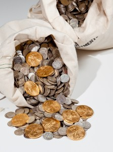 Big bag of silver and gold coins
